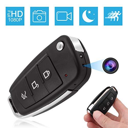 Jiyibidi 1080P Tragbare Mini Autoschlüssel Überwachungskamera, Kleine Kamera mit Bewegungserkennung und Infrarot Nachtsicht, Mikro Nanny Cam Compact Sicherheit Kamera