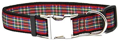 La Patte Verte Collier pour Gros Chien 'Tartan Rouge Écossais' Taille L Boucle métal