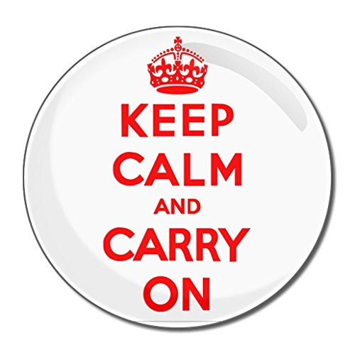 White Red Keep Calm Carry On - Miroir compact rond de 55 mm