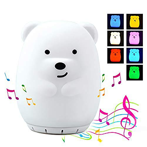 Kids Night Light with Bluetooth Speaker, LED Cute Animal Bear Nightlight, Portable Rechargeable Multi-Color Changing Muscial Table Lamp, Safety ABS Silicone Material for Baby Girls Toys