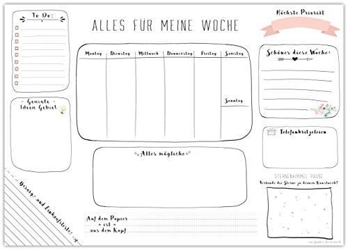 Schreibtischunterlage MEINE WOCHE, aus Papier zum Abreißen - DIN A3 (42 x 29,7 cm) Schreibunterlage mit 25 Blatt - Papierunterlage für Kinder und Erwachsene - Abrissblock mit Wochenplaner in Weiß