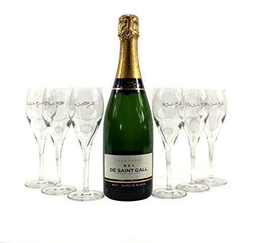 De Saint Gall Champagner Gläser 6er Set geeicht Rubis 16cl inkl. 0,7l Deko-Flasche aus Echtglas verschlossen ~mn 1002 1312+
