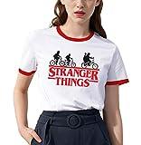 Shirt Ringer Stranger Things per Donna Best Friend T-Shirt BFF Stampa Manica Corta Maglietta Migliori Amiche Bianco 1 Pezzi Girocollo Estate(Rosso,XS)