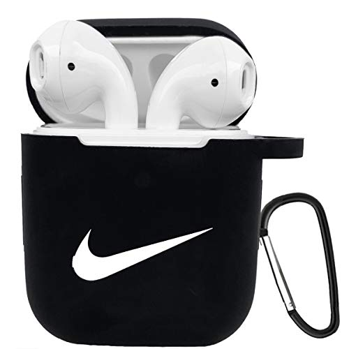 Airpods Case Cover, Silicone Cover Shock Resistant Case with Carabiner Compatible with Airpods 1/2