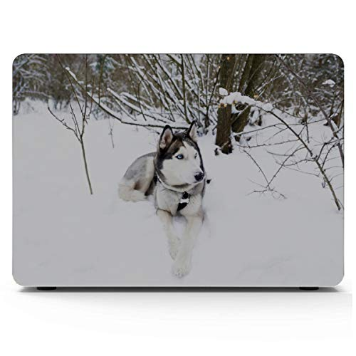 MacBook Computer Case Funny Husky Dog in Warm Hat MacBook Air 11 Case Hard Shell Mac Air 11'/13' Pro 13'/15'/16' with Notebook Sleeve Bag for MacBook 2008-2020 Version