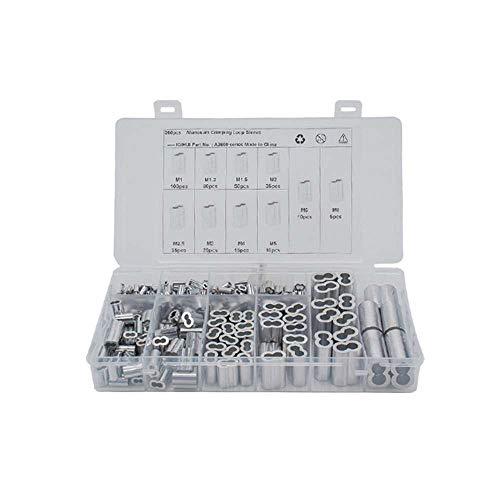 XJF 360pcs en caja 8 en forma de agujero de aluminio manga oval agujero aluminio clip aluminio buck