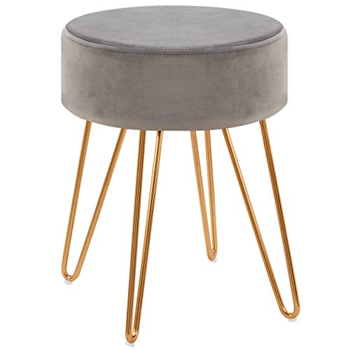 Modern Ottoman,Velvet Seat Contemporary Upholstered Round Golden Stool Backless Short Stool Dining Stool Footstool for Kitchen Bedroom Living Room Bathroom with Gold Base(Grey)