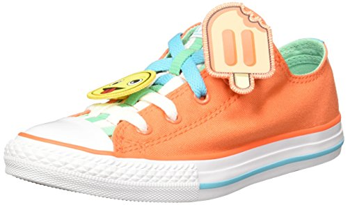 Converse Unisex-Kinder Chuck Taylor All Star Loopholes OX Sneaker, Orange (Wild Mango Green Glow-White Wild Mango Green Glow-White), 33 EU