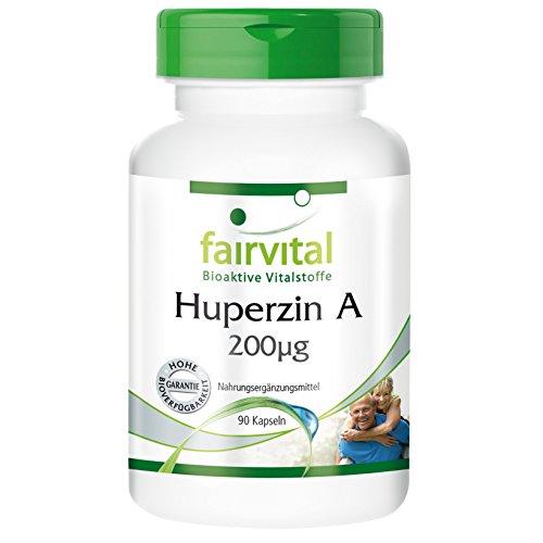 Huperzin A 200µg, Brainbooster aus Bärlapp-Extrakt, 90 Kapseln, vegetarisch, Reinsubstanz