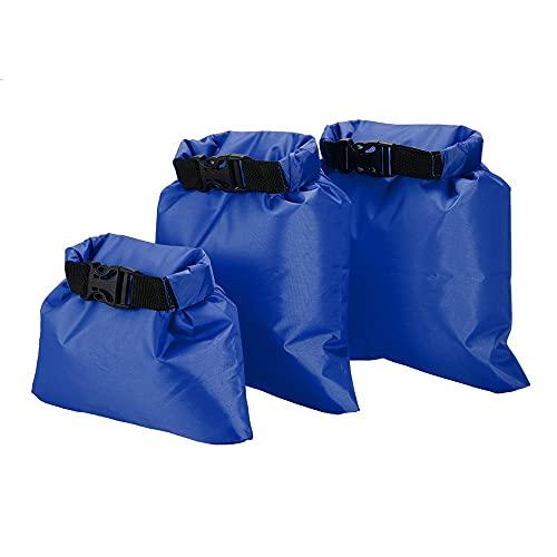 HUUATION 3PCS Bolsa Impermeable Natación Trekking Bolsa Seca Bolsas a Prueba de Agua 1L + 2L + 3L Sacos Secos ultraligeros Camping Mochila(Dark Blue)