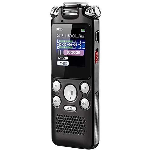 Aijin Grabadora de Voz Digital, grabadora Digital grabadora de HD USB portátil con Doble micrófono de la Ayuda 32G Expandir para conferencias/reuniones/Entrevistas/Clase,32GB
