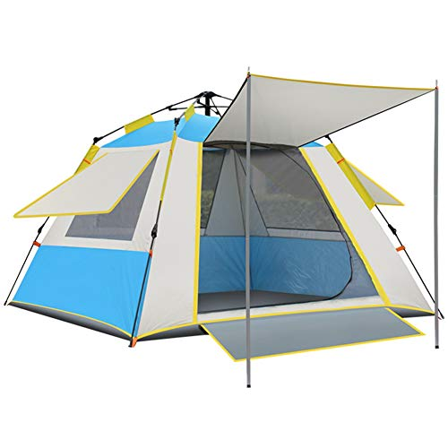 KKING Outdoor Pop-Up Tent with 3-4 People Foldable Waterproof And UV-Proof Portable Tent for Hiking, Camping,Blue,4person tent