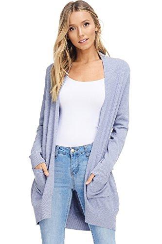 Women's Basic Open Front Knit Cardigan Sweater Top W/Pockets (Powder Blue, Medium/Large)