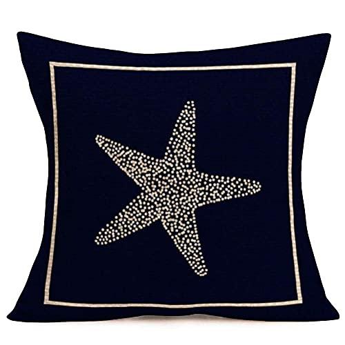 375 Fundas de almohada decorativas de lino y algodón para el hogar, diseño de estrellas de mar, marinos, marinos, océano, playa, playa, mar náutico, 55,8 x 55,8 cm