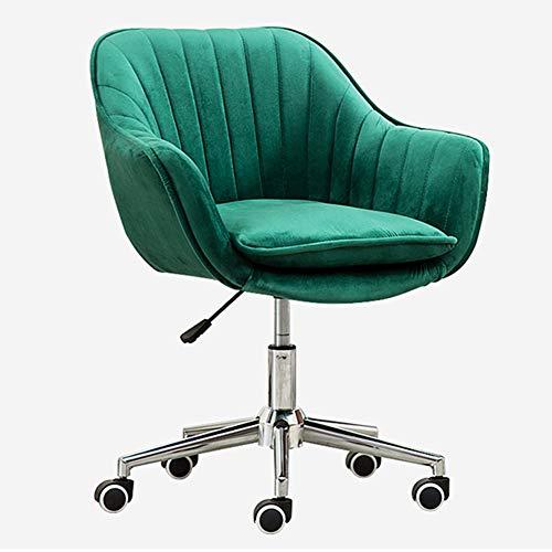 Gsej Silla de Oficina Silla giratoria de Altura Ajustable, sillas de Escritorio ergonómicas con Franela Verde y apoyabrazos, para Estudio de Dormitorio en casa