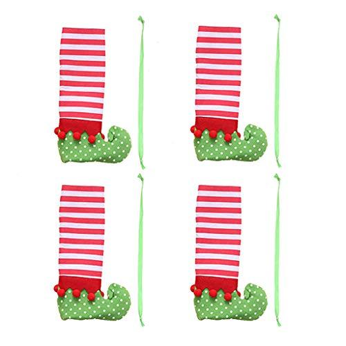 Javntouy 4 piezas de calcetines para patas de silla, para decoración de mesa, para fiestas, Navidad, cenas, sillas y patas de mesa, fundas para sillas o sillas