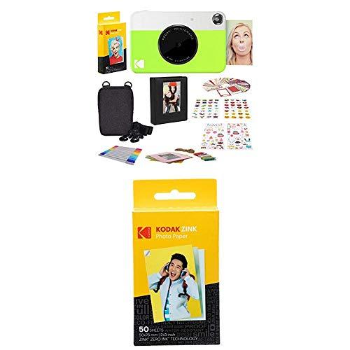 Kodak Printomatic - Cámara de impresión instantánea, Verde neón + Paquete de 50 Hojas