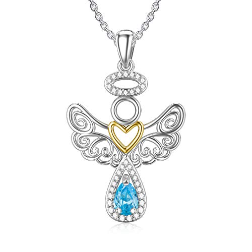RMREWY Guardian Angel Necklace 925 Sterling Silver Celtic Angel Pendant Angel Wing Jewelry Mother's Day Brithday Gifts for Women Mom