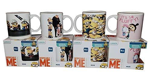 Discable Me - Minions Keramik-Tassenset 4er Pack mit verschiedenen Motiven der Minions, Gru und den Kindern, Frühstückstassen für Milch, Kakao oder Tee, 260ml pro Tasse
