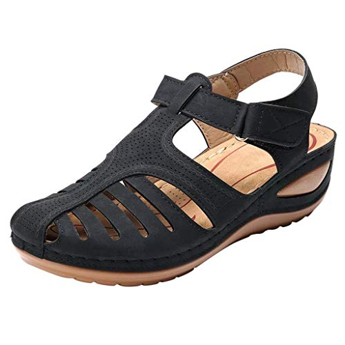 LHWY Retro Sandalias Mujer Verano Antideslizantes Suela Blanda Zapatillas de Cuña con Correa de Tobillo Casual Plataformas Zapatos de Playa (37EU, Negro)