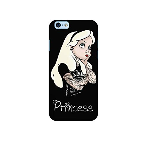 UrbanKaos Cover iPhone Principessa Princess Punk Rock Alice Tattoo Custodia Cover Protettiva Guscio Soft Case Nera Sottile Slim Fit TPU Morbida (iPhone 6 6S Morbida)