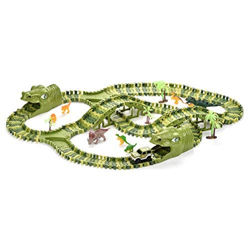OUCRIY Circuito de carreras, juguete para niños, dinosaurios, carro eléctrico modible, construcción de ladrillo, juguete para niños, regalos
