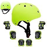 GLAF ヘルメット こども用 キッズプロテクター セット 自転車 ヘルメット9-12歳 頭囲55~57cm 子供用 保護具 超高耐衝撃性 耐久性 軽量 サイクリング スケートボード ローラースケート (イエロー, M(55CM~57CM))