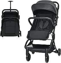 Baby Joy Lightweight Baby Stroller, Infant Stroller w/Easy One-Hand Fold, Adjustable Backrest/Footrest/Canopy, 5-Point Harness & Storage Basket, Compact Toddler Travel Stroller for Airplane (Black)