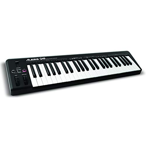 Alesis Q49 - USB MIDI Keyboard Controller mit 49 Tasten, Pitch und Modulation Wheels, Octave Up und Down Buttons und Ableton Live Lite