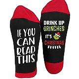 djryj Newest 1Pair Nuevo Calcetines de Navidad If You Can Read This Bebida hasta Grinches Navidad Películas Letra Unisex Elástico Medio Tubo Tripulación Calcetines - Rd