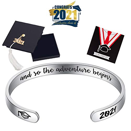 Ldurian Graduation Gifts for Her, 2021 Grad Bracelet Him, Senior Bangle Cuff, Inspirational Gift for High School Grad, Engraved Quote And so the Adventure Begins (Class of 2021 Cap Box & Bag & Card)