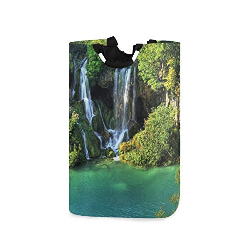 Foldable with Handle National Park Plitvice In Croatia Shopping Cloth Bag Laundry Hamper Washing Bin Basket