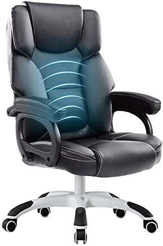 EPYFFJH Executive Recline Doppio strato Design Ergonomico Design ergonomico PU Poltrona per computer con schienale e braccioli Sedia da gioco da corsa da massaggio 90 ° -150 ° Peso cuscinetto di incli