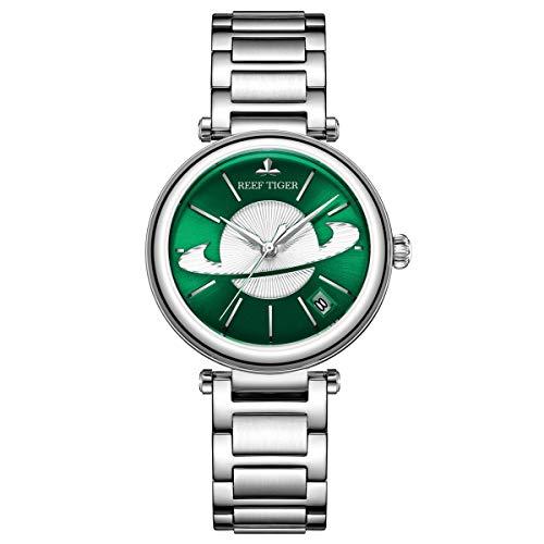 REEF TIGER Damen-Armbanduhr Analog Automatik mit Edelstahlarmband RGA1591-YNY