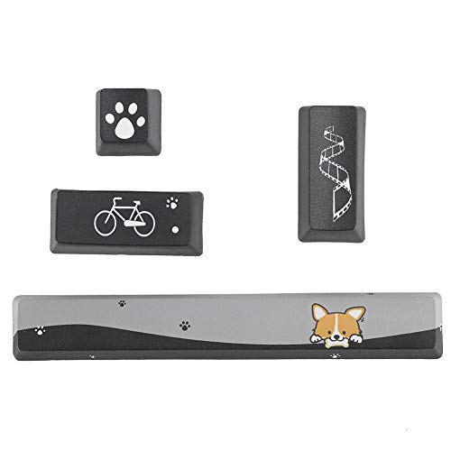Hopcd Computer DIY Reemplazar Keycaps 4 Pcs Key Caps para Teclado mecánico Space + ESC + Enter + Numpad Enter Bouton Mini Black Dogs Pattern PTB Keycaps(Negro)
