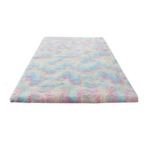 POHOVE Soft Girls Room Rugs, Luxury Velvet Rainbow Shag Area Rug Carpet for Girls Kids Baby Living Room Fluffy Colorful Cute Rugs Floor Carpets Shaggy Playing Mat Nursery Home Decor