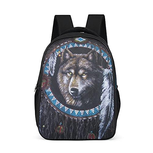 Hinfunees Mochila Native American Wolf con estampado de lobo americano, duradera, para adolescentes, viajes, gris brillante., talla única