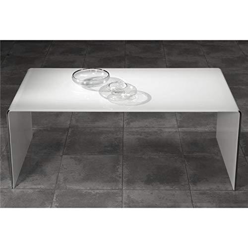 Mesa de Centro de Cristal Curvado Blanco Garbis 110 cm