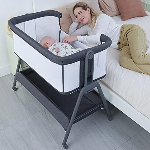 ANGELBLISS Baby Bassinet Bedside Crib with Storage Basket and Wheels