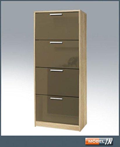 HMW-Möbel Elegance Schuhschrank 4 Klappen Schuhkommode Garderobenschrank Schrank Esche
