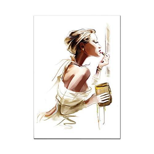 cuadros decoracion salon Cartel moda Chica Maquillaje Planta Arte Zapatos tacón alto Cuadros artísticos pared para sala estar Perfume moderno París regalo cumpleaños dia del padre regalos 20x28inch