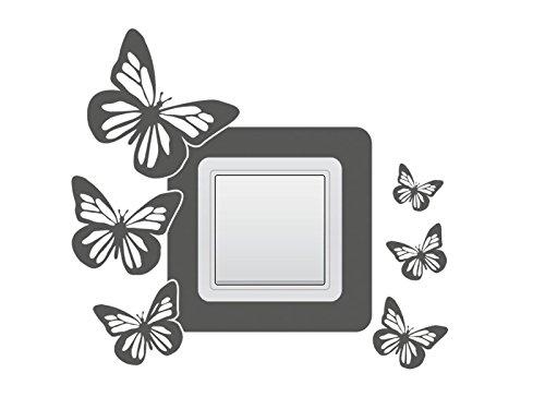 Wandtattoo Lichtschalter Steckdosentattoo Schmetterlinge Nr 2 Wandschalter Stromschalter Farbe Lindgrün, Größe 34x16 cm | dreier Querformat
