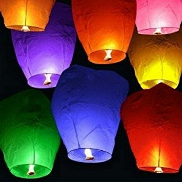 Set of 14 Assorted Color Sky Lanterns - Chinese Flying Wish Lights