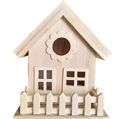 Sunneey Wetterbeständiges Holz Dekorativer Nistkasten mit Vogelfutterhaus zum selbst Bauen-Bausatz-Vogelhaus-Vogelhäuschen-sauberste Verarbeitung-Vogelhaus Garten Deko 14 x 13 x18 cm