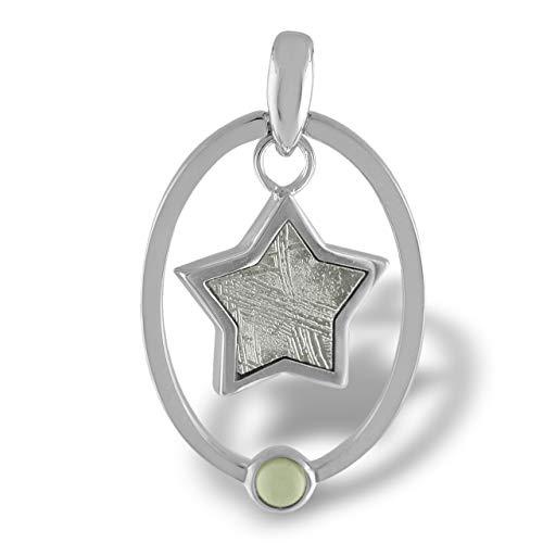 Starborn Sterling Silver, Moldavite and Muonionalusta Meteorite Star Pendant