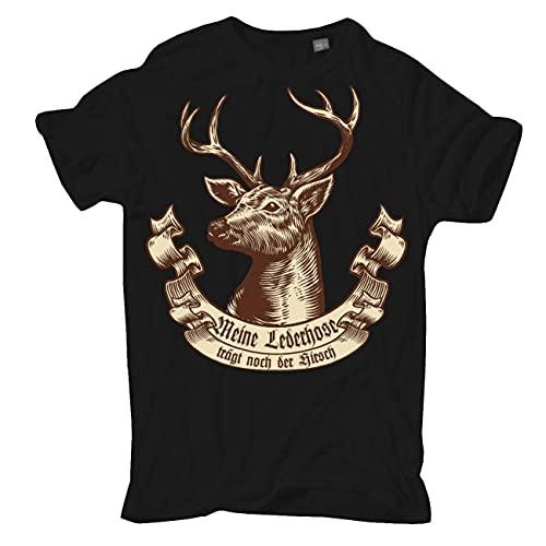 Männer und Herren T-Shirt Meine Lederhose trägt noch der Hirsch Größe S - 5XL