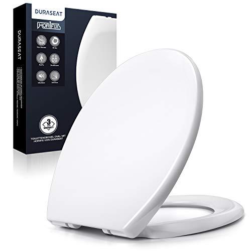 DURASEAT® DU001O Toilettendeckel Oval, Premium WC Sitz mit Softclose Absenkautomatik, Toilettensitz Antibakteriell aus Duroplast und rostfreiem Edelstahl