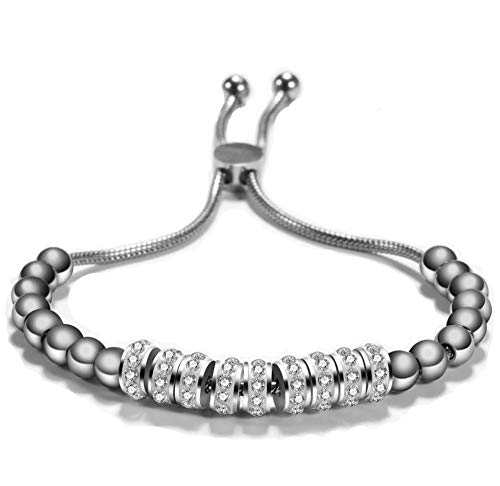 MiniJewelry Beading Bling Crystal Charms Adjustable Silver Stainless Steel Bracelet for Women Girl, 4-8 Inch