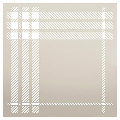 Plaid Stencil by StudioR12 | Closeup London Stripe Pattern | Paint Wood Signs | Reusable Mylar Template | Craft Home Decor Background | DIY Scrapbook - Journal - Card - Fabric - Stamp | Select Size