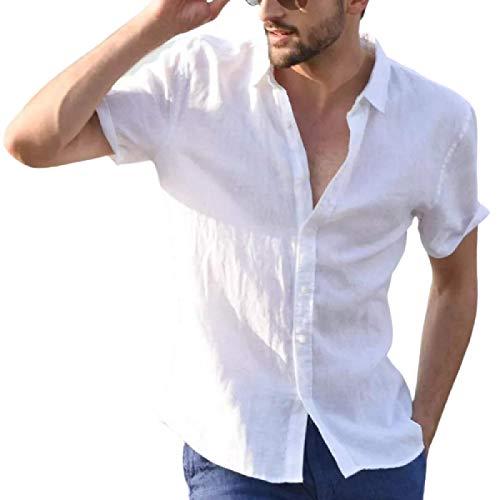 Camisas para Hombre Camisas Casuales de Manga Corta de Verano Europeo y Americano clásico Simple y cómodo Color sólido 3X-Large
